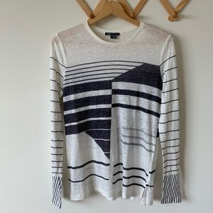 Vince Abstract Striped Knit Tunic